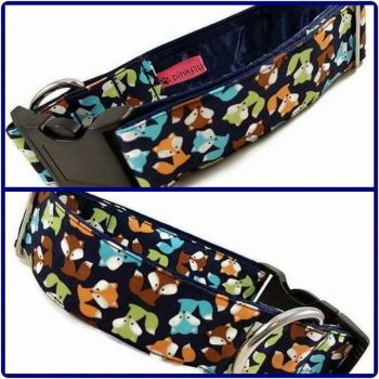 "1.5"" Navy Mini Foxes Satin Lined Clip Collar"