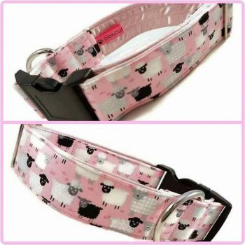 "1.5"" Pink Jolly Sheep Satin Lined Clip Collar"