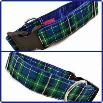"1.5"" Blue Suntone Check Satin Lined Clip Collar"