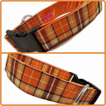 "1.5"" Orange Suntone Check Satin Lined Clip Collar"