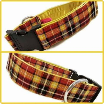 "1.5"" Yellow Suntone Check Satin Lined Clip Collar"