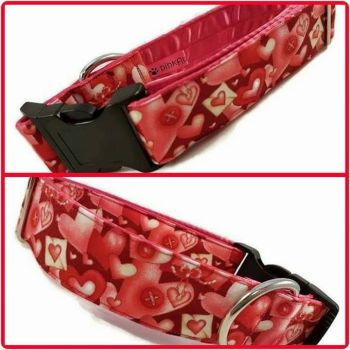 "1.5"" Valentines Hearts Satin Lined Clip Collar"