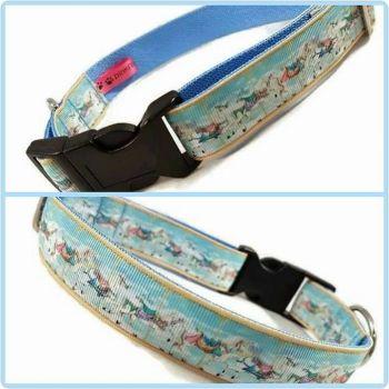 "1"" Carousel Horses Clip Dog Collar"