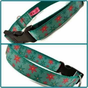 """1"""" Turquoise Flowers Clip Dog Collar"""