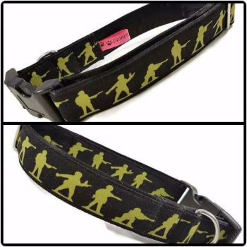 "1"" Toy Soldiers Satin Lined Clip Collar"