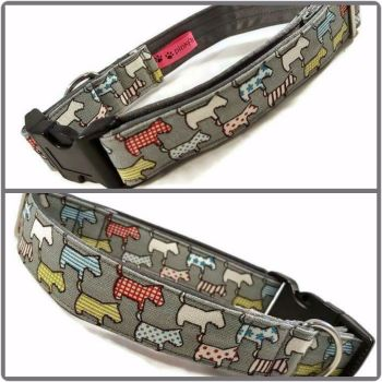 "1"" Grey Mini Dogs Satin Lined Clip Collar"