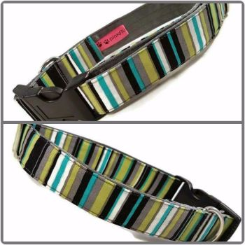 "1"" Green and Grey Stripes Satin Lined Clip Collar"
