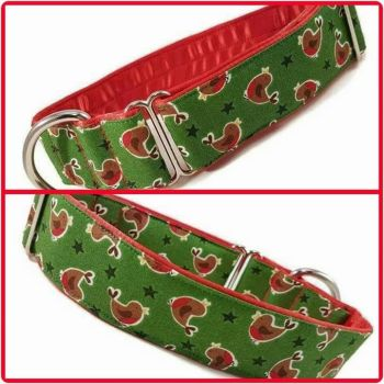 "1.5"" Festive Robins Greyhound House/Tag Collar"