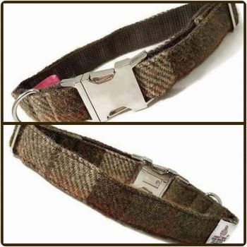 "1"" Brown Check Harris Tweed Clip Dog Collar"