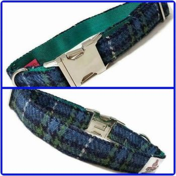 "1"" Royal Blue and Emerald Harris Tweed Clip Dog Collar"