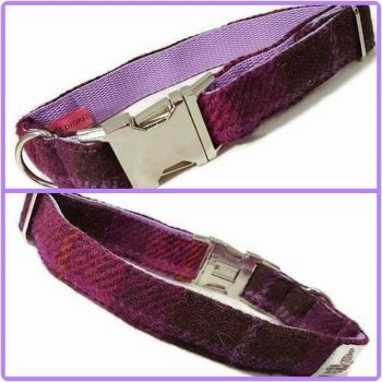 "1"" Fuschia Check Harris Tweed Clip Dog Collar"
