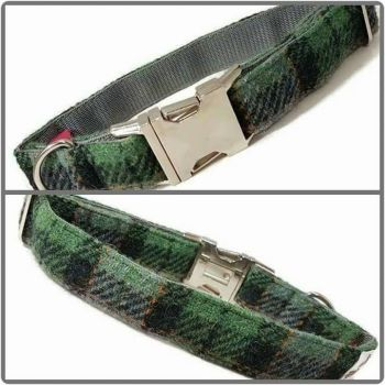 "1"" Green and Grey Harris Tweed Clip Dog Collar"