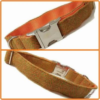 "1"" Orange and Lime Green Herringbone Harris Tweed Clip Dog Collar"