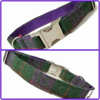 "1"" Purple and Green Harris Tweed Clip Dog Collar"