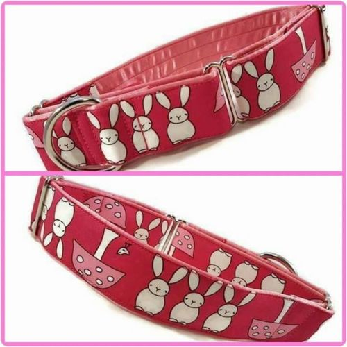 Pink Bunnies and Toadstools Martingale Collar