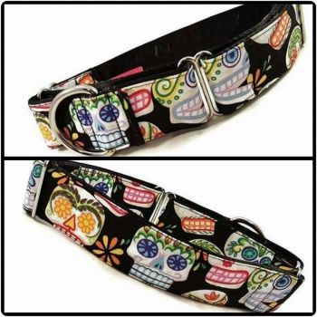Black Sugar Skulls Martingale Collar