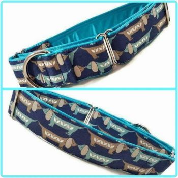 Blue Sausage Dogs Martingale Collar