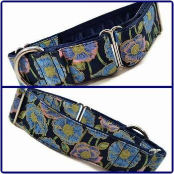 "1.5"" Blue Poppies Whippet Martingale Collar"