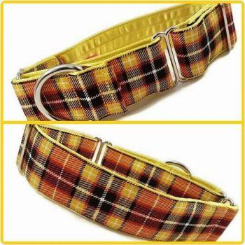 "1.5"" Yellow Suntone Check Whippet Martingale Collar"