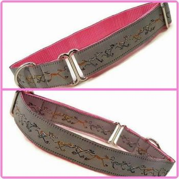 """1"""" Grey and Pink Nellie Doodles Greyhound House/Tag Collar"""