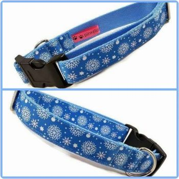 "1"" Blue Snowflakes Clip Dog Collar"