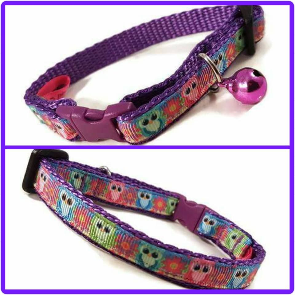 Bright Owls Cat Collar