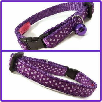 Purple Polkadot Cat Collar