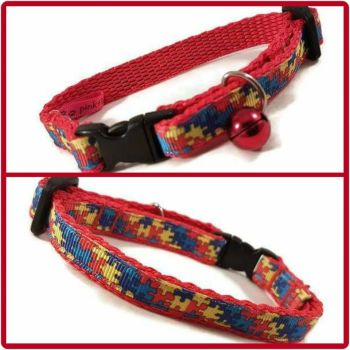 Red Jigsaw Cat Collar