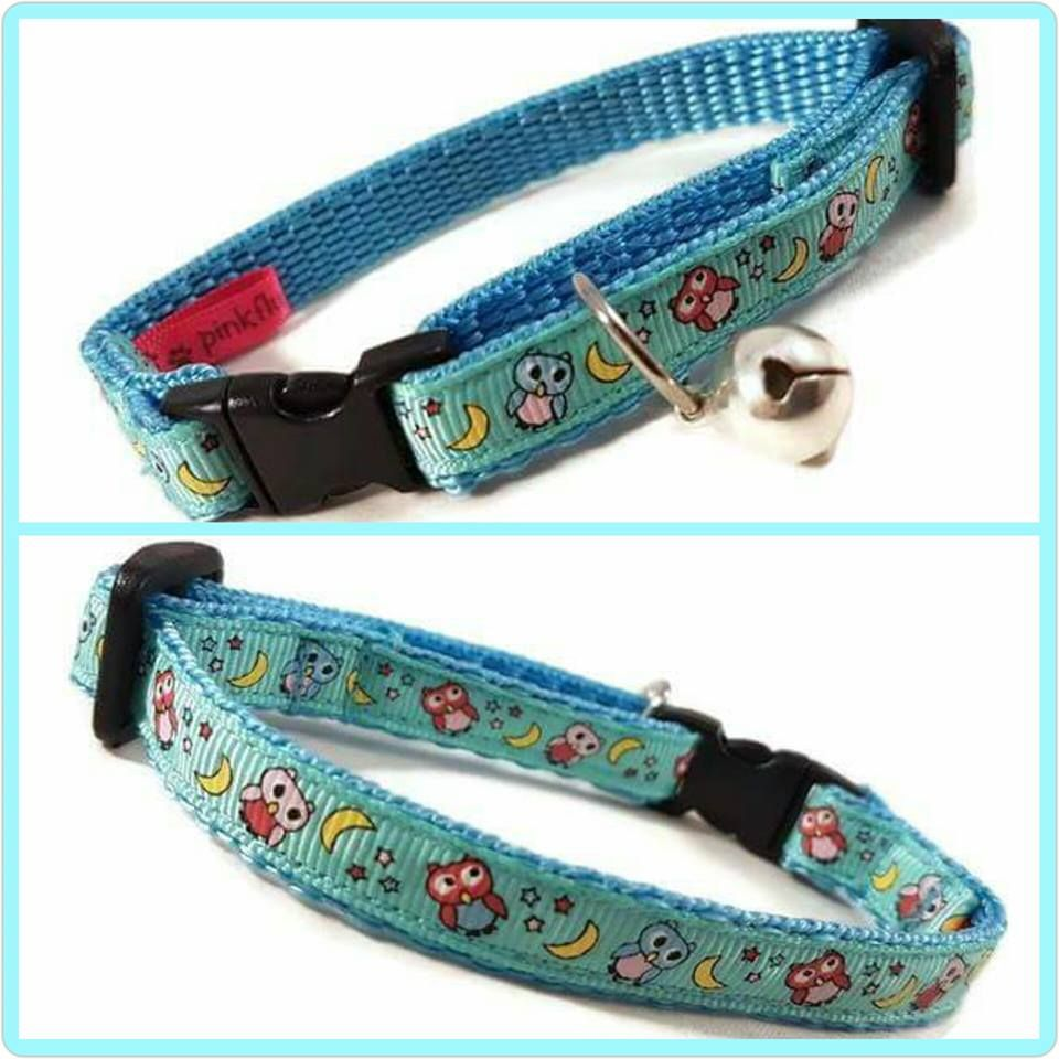 Turquoise Owls Cat Collar