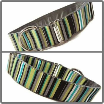 "1.5"" Green and Grey Stripe House/Tag Collar"