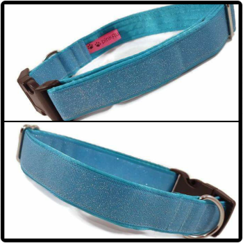 "1"" Turquoise Glitter Clip Dog Collar"