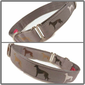 "1"" Hounds on Grey House/Tag Collar"