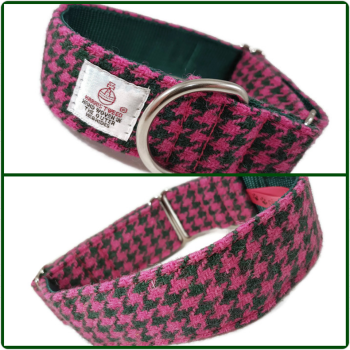 "1.5"" Pink and Green Houndstooth Harris Tweed House Collar"