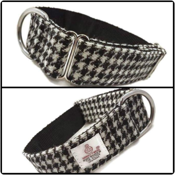 "1.5"" Black and White Houndstooth Harris Tweed House Collar"