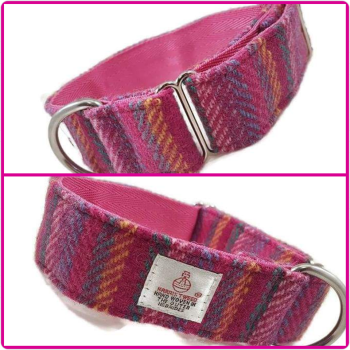 "1.5"" Pink Rainbow Stripes Harris Tweed House Collar"