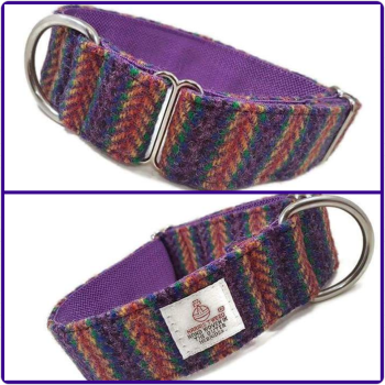"1.5"" Purple Rainbow Stripes Harris Tweed House Collar"