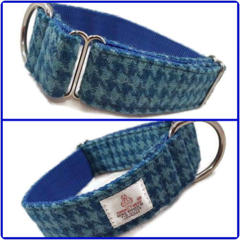 "1.5"" Turquoise Houndstooth Harris Tweed House Collar"
