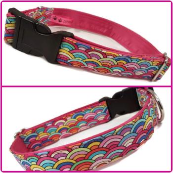 "1"" Mini Rainbow Scallops Satin Lined Clip Collar"