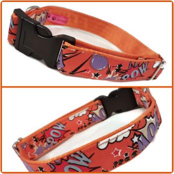 "1"" Orange Pow Satin Lined Clip Collar"