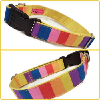 """1"""" Rainbow Stripes Satin Lined Clip Collar"""