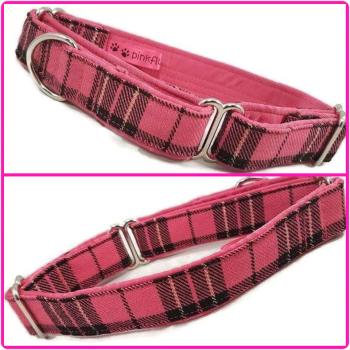 "1"" Pink Metallic Tartan Whippet Martingale Collar"