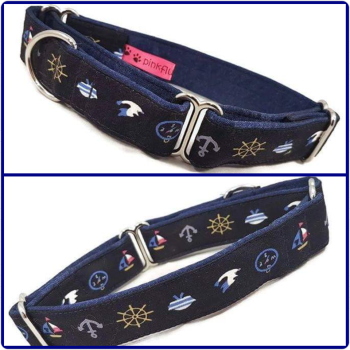"1"" Miniature Nautical Whippet Martingale Collar"