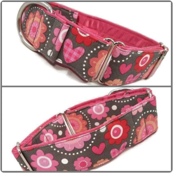 "1.5"" Blooming Hearts Whippet Martingale Collar"