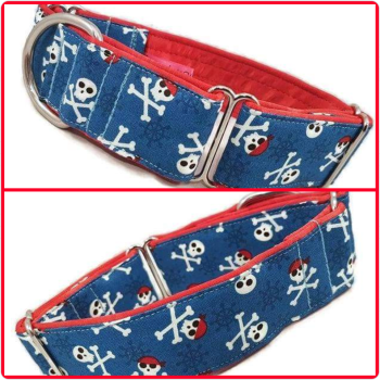 "1.5"" Blue Pirates Whippet Martingale Collar"