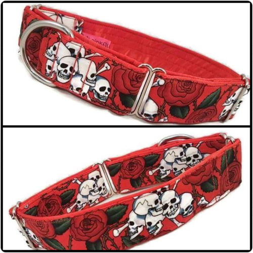 Red Skulls and Roses Martingale Collar