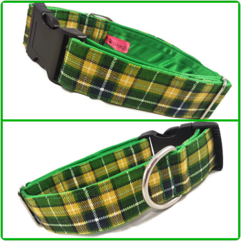 "1.5"" Green Suntone Check Satin Lined Clip Collar"