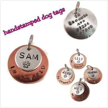 38mm handstamped layered dog tag