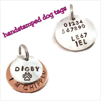 32mm handstamped layered dog tag