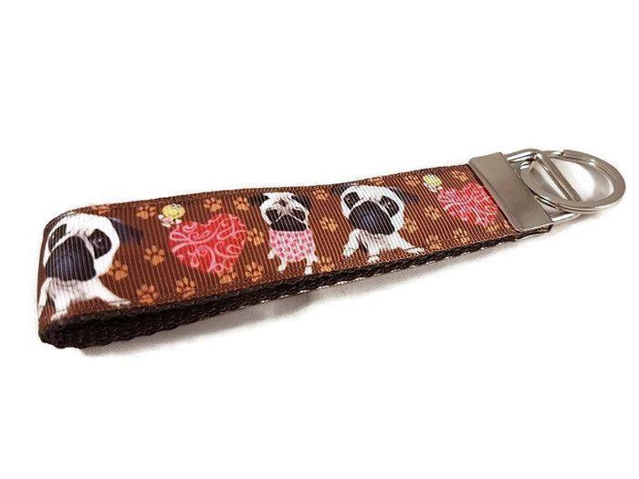 Brown Pugs Keyfob