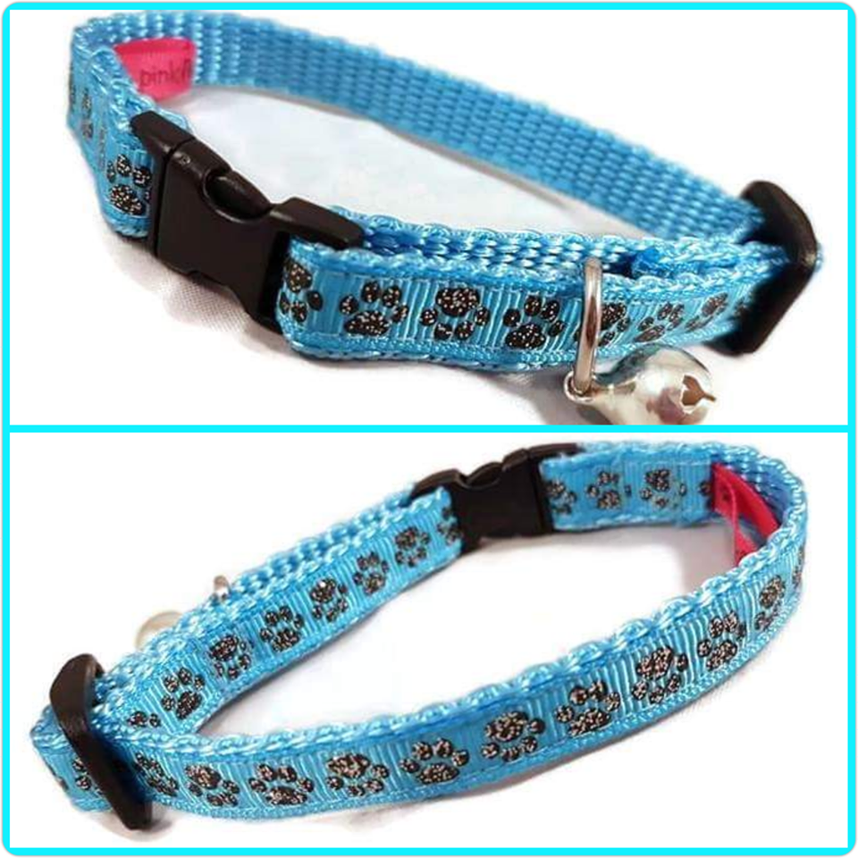 Blue Glitter Paws Cat Collar